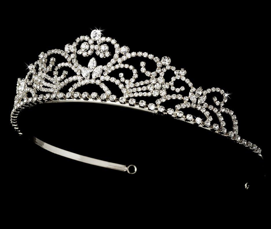 Bridal Silver Rhinestone Crystal Floral Tiara Headband