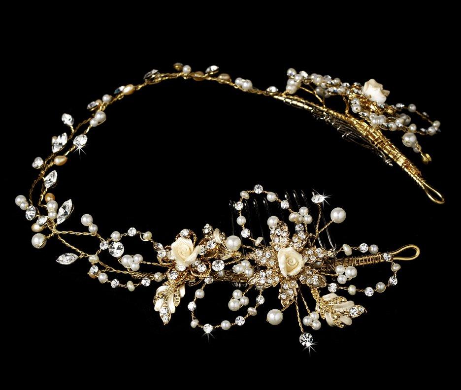 Gold Elegant Crystal Floral Bridal Headband Tiara