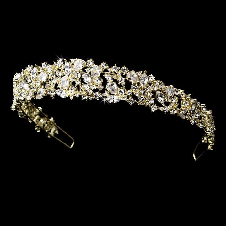 Light Gold Clear Rhinestone Crystal Tiara Headband