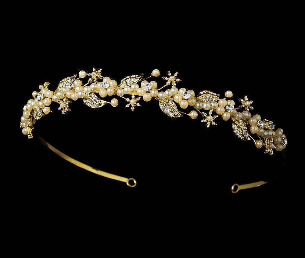 Gold Ivory Pearl Rhinestone Bridal Headband Tiara