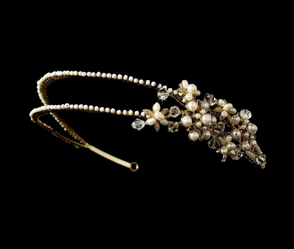 Gold Swarovski Crystal Pearl Bridal Headband Tiara