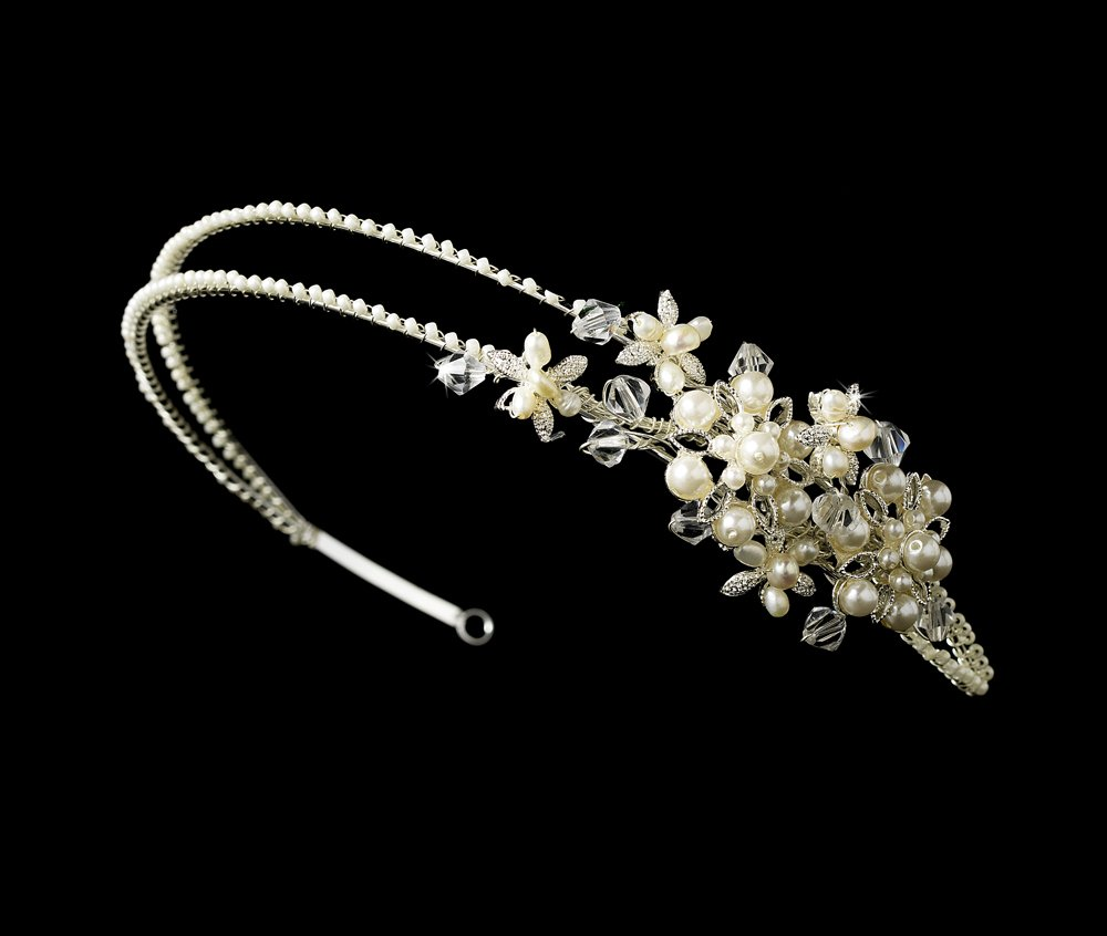 Silver Swarovski Crystal Pearl Floral Headband Tiara
