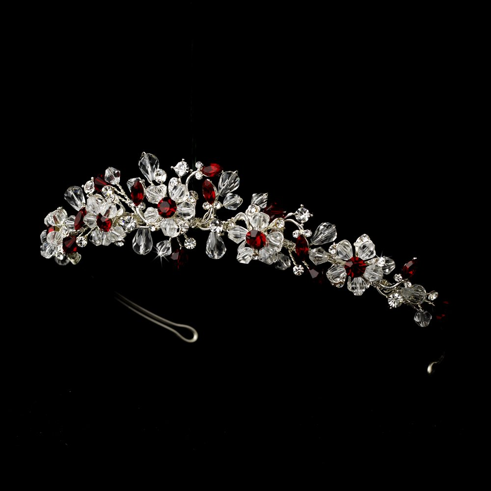 Silver Red Swarovski Crystal Bridal Tiara Headband