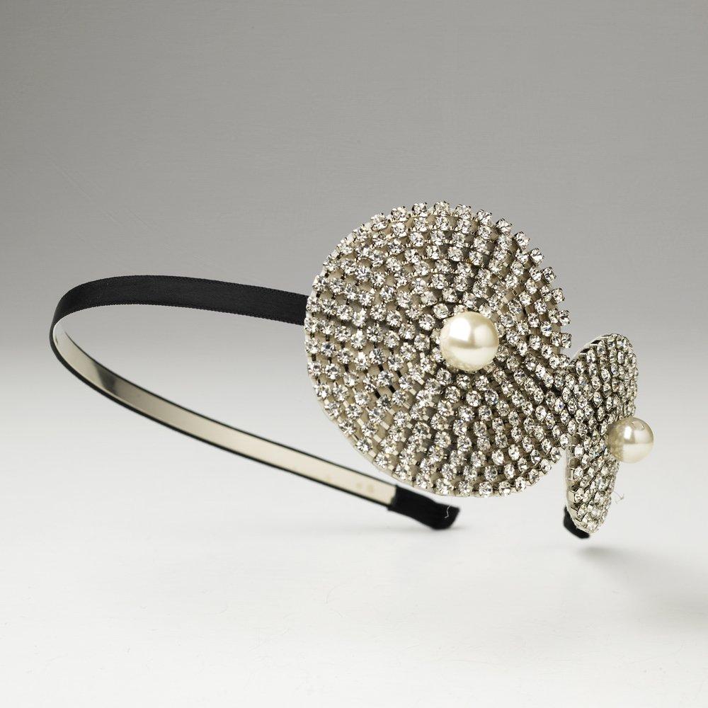 Silver Austrian Crystal Pearl Swirl Black Headband