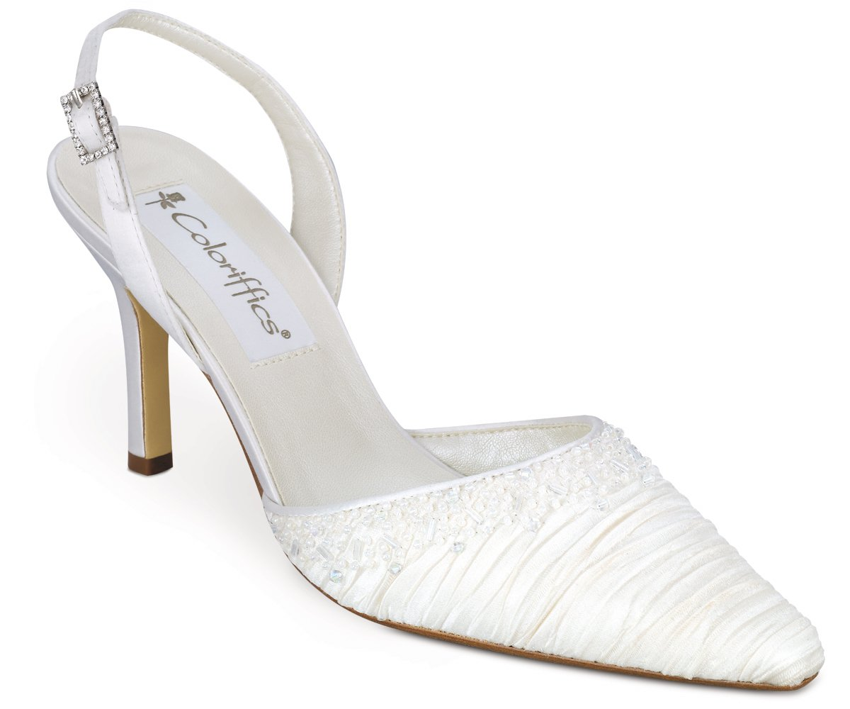 Ivory Pleated Silk Close Toe Beaded  High Heel Shoes