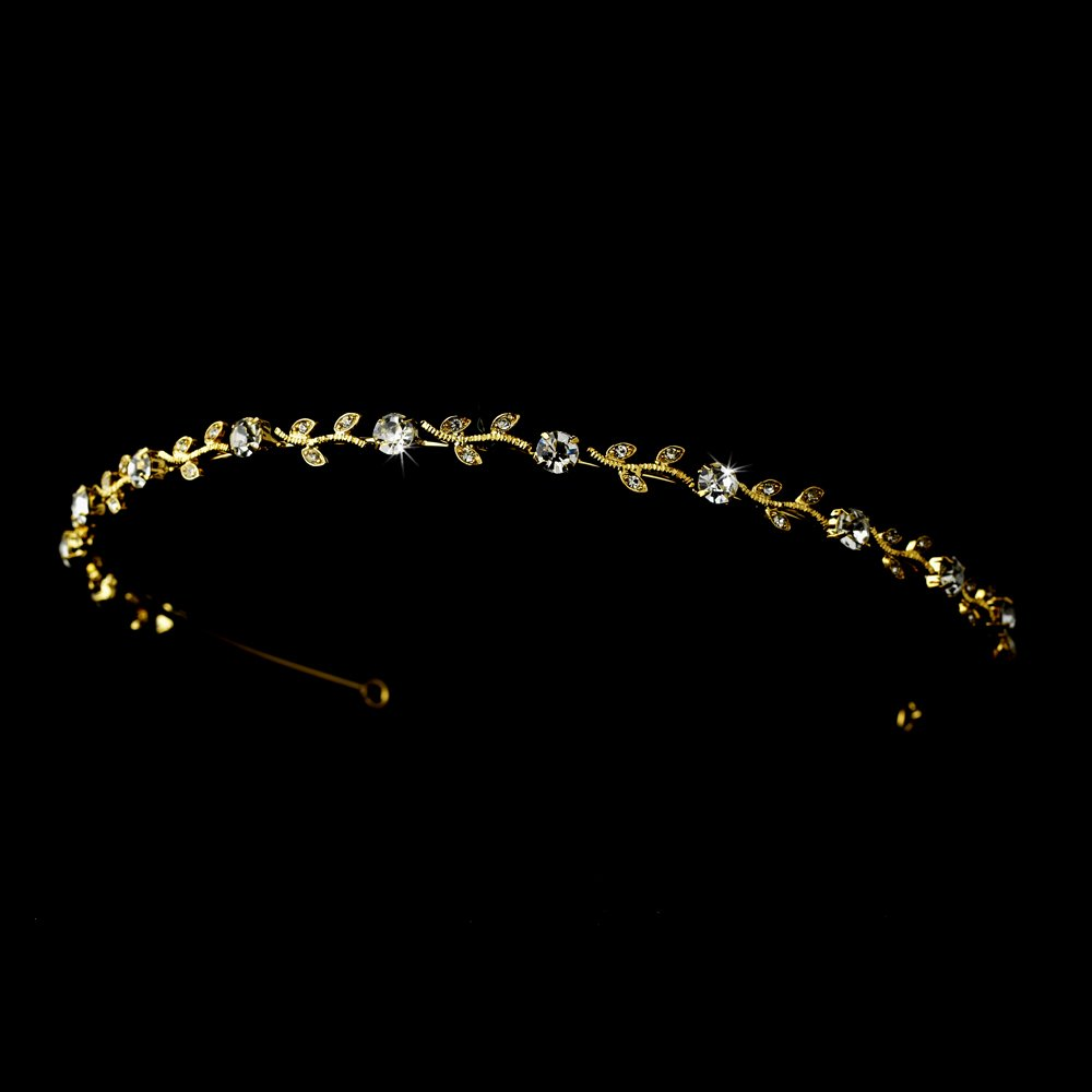 Gold Clear Rhinestone Crystal Floral Headband Tiara