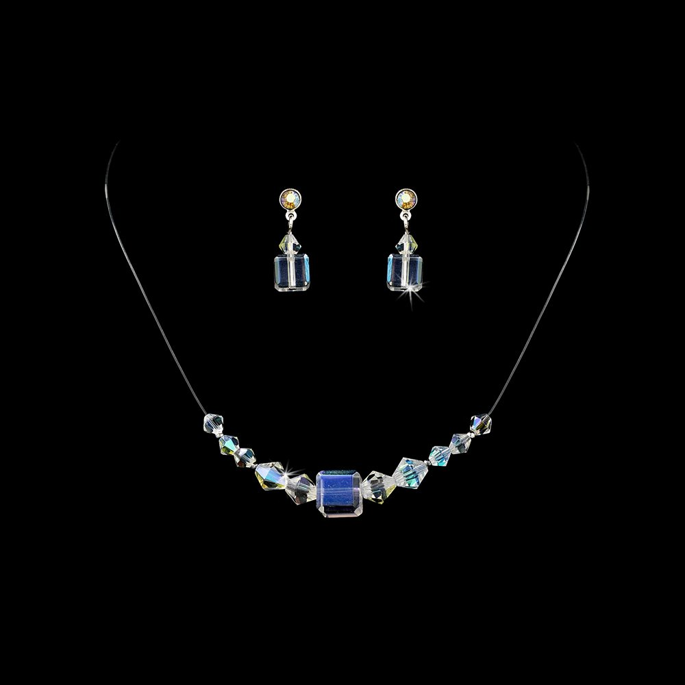 AB Swarovski Crystal String Necklace Earring Set