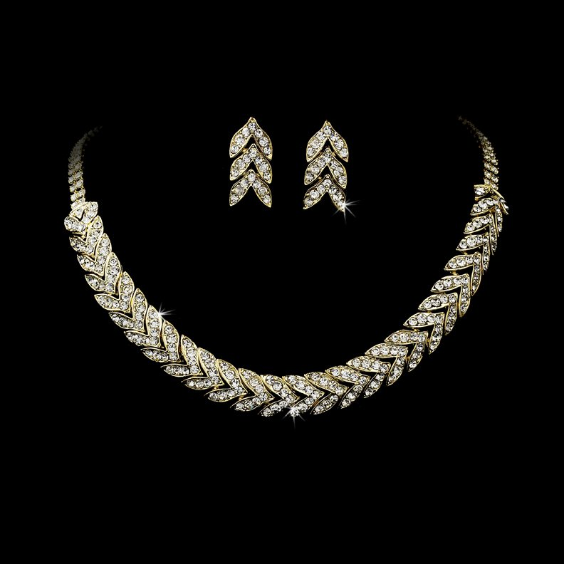 Gold Clear Rhinestone Choker Necklace Earring Set