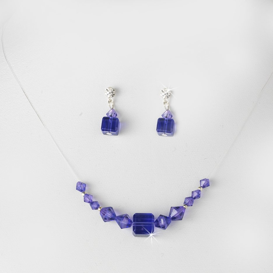 Purple Swarovski Crystal String Necklace Earring Set