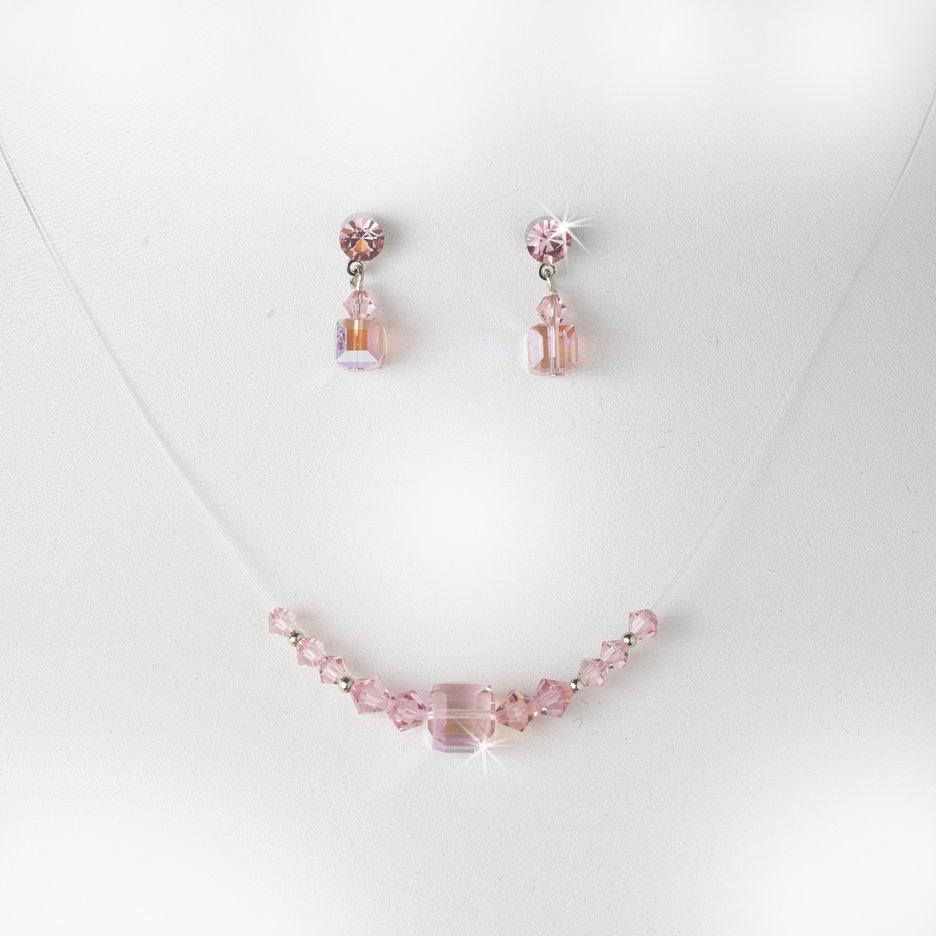 Pink Swarovski Crystal String Necklace Earring Set