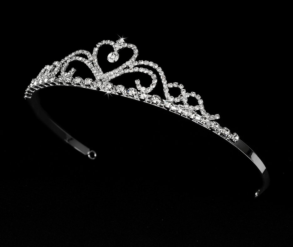 Silver Clear Rhinestone Crystal Heart Tiara Headband
