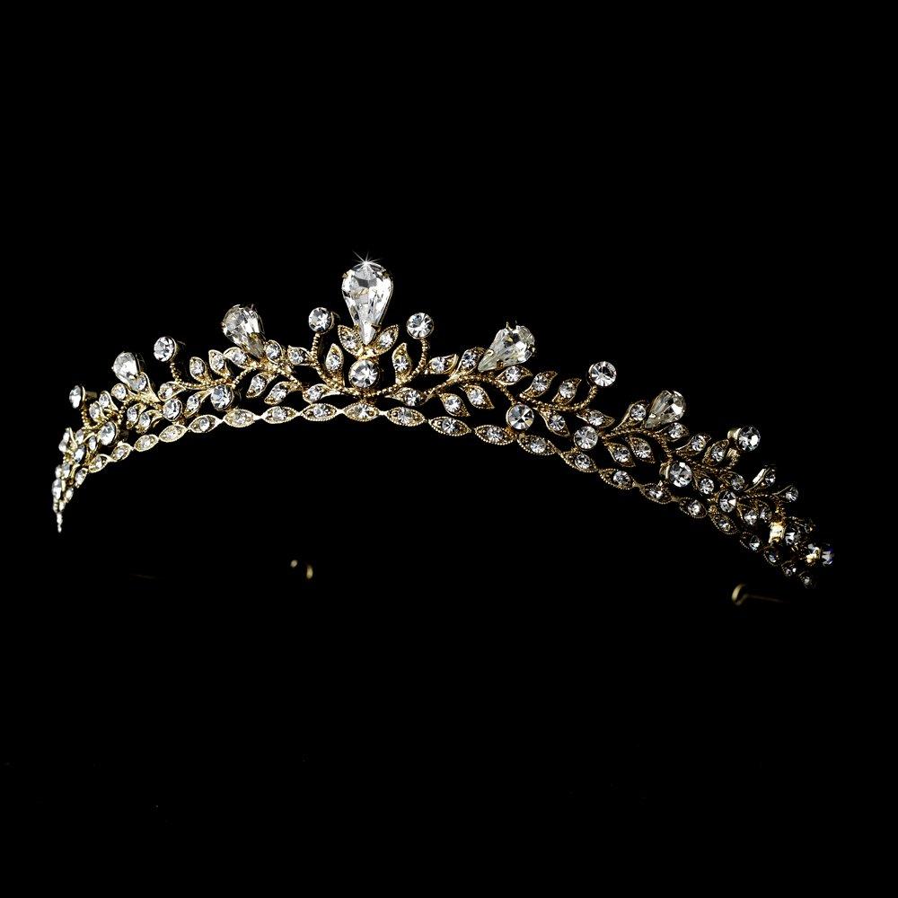 Gold Clear Rhinestone Crystal Bridal Tiara Headband