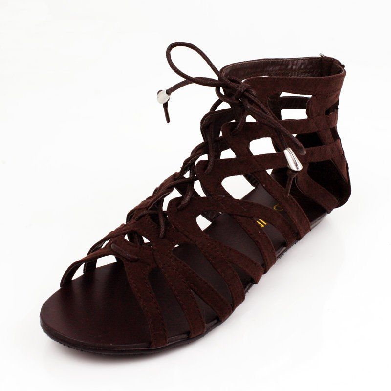 Brown Suede Lace up Cage Sandals Flat Womens Shoes