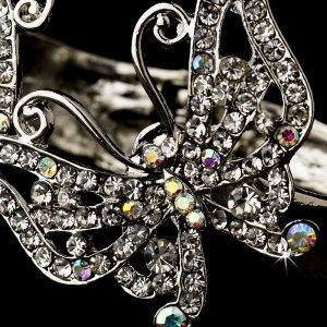 Silver Clear AB Crystal Butterfly Cuff Bracelet