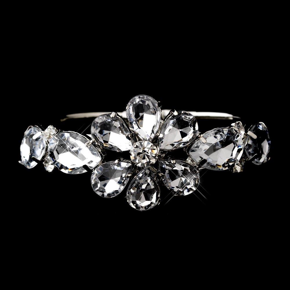 Silver Austrian Crystal Flower Bridal Bracelet