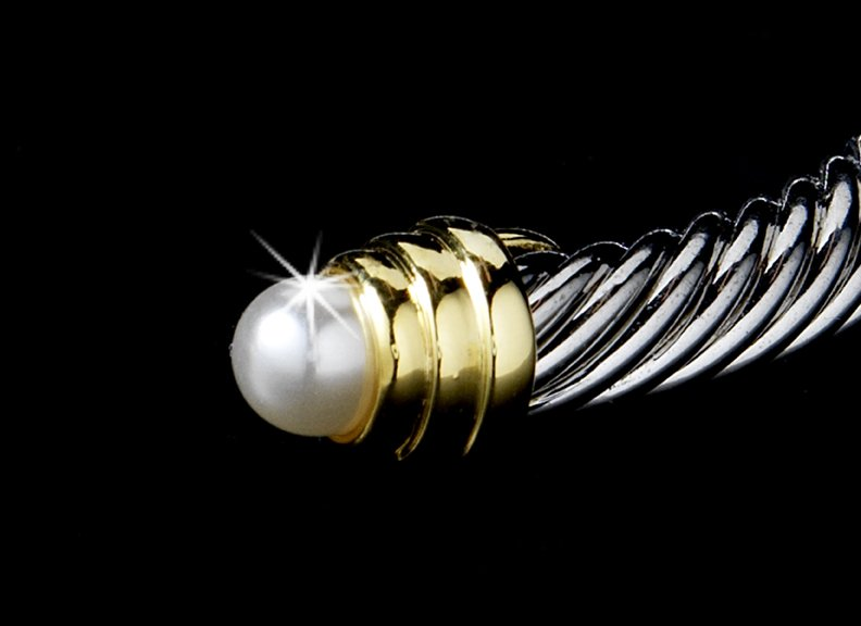 Silver White Pearl Gold Tipped Designer Bangle Bracelet