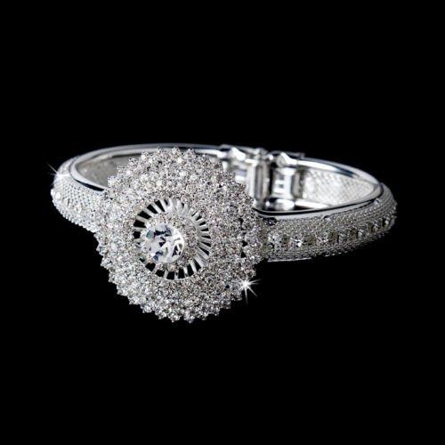 Silver Rhinestone Crystal Mesh Cufff Bracelet