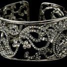Silver Clear Rhinestone Crystal Swirl Cuff Bracelet