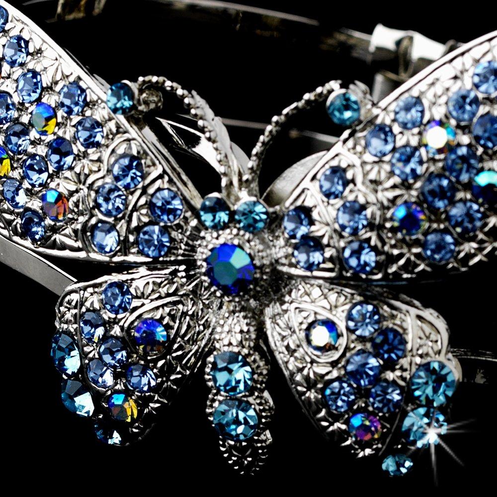 Silver Blue Aqua Rhinestone Butterfly Cuff Bracelet