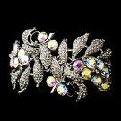 Silver AB Clear Rhinestone Crystal Floral Cuff Bracelet