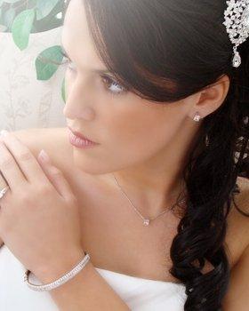 Silver Swarovski Crystal Wavy Bangle Bracelet