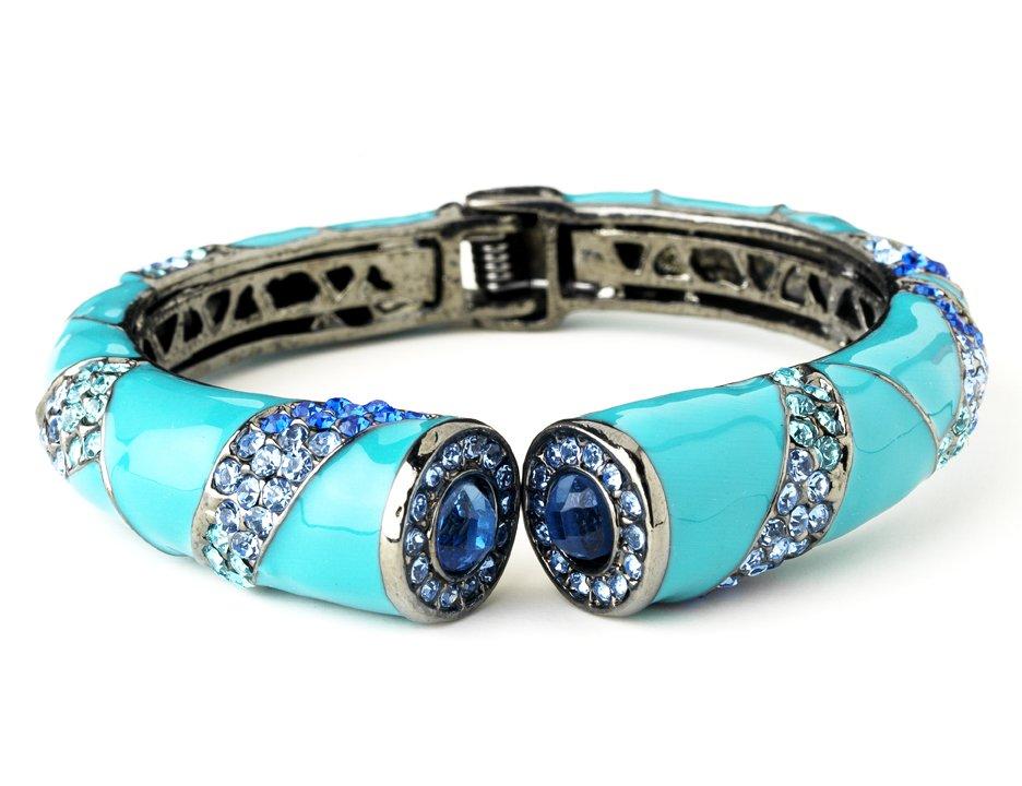 Silver Aqua Enamel Blue Crystal Cuff Bracelet