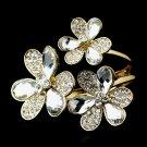 Gold Clear Austrian Crystal Flowers Cuff Bracelet