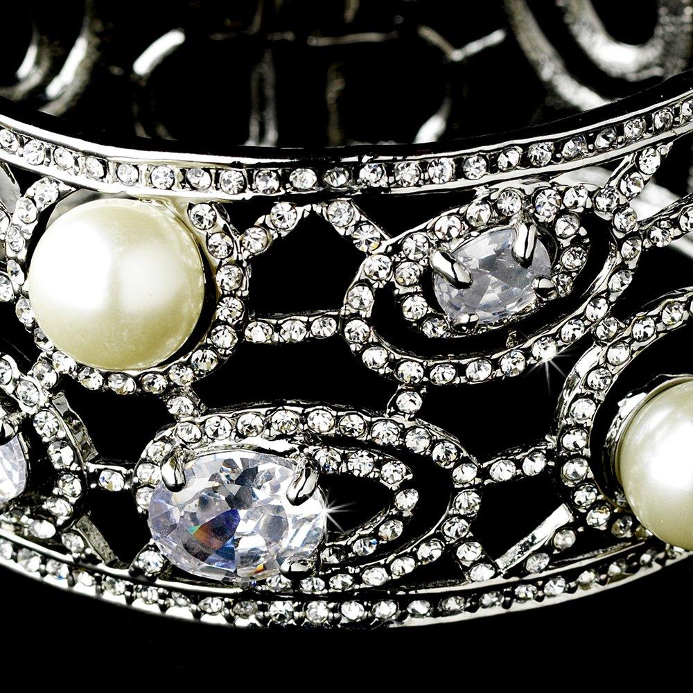 Silver White Pearl Rhinestone Crystal Cuff Bracelet