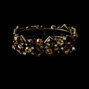 Gold Brown Rhinestone Crystal Cuff Bridal Bracelet