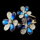 Gold Blue Clear Austrian Crystal Flowers Cuff Bracelet