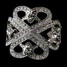 Vintage Silver Rhinestone Crystal Bangle Bracelet