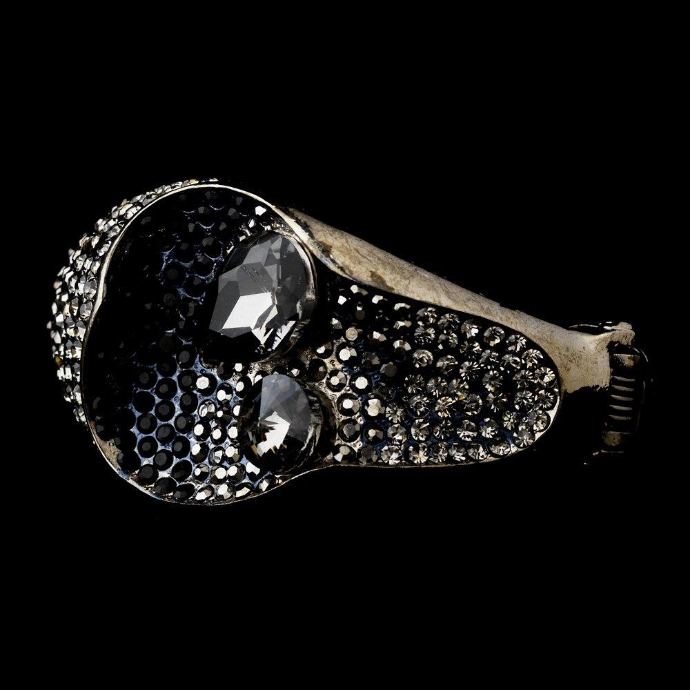 Rhodium Black Gray AB Rhinestone Cuff Bracelet