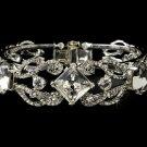 Silver Clear Large Rhinestone Crystal Cuff Bracelet