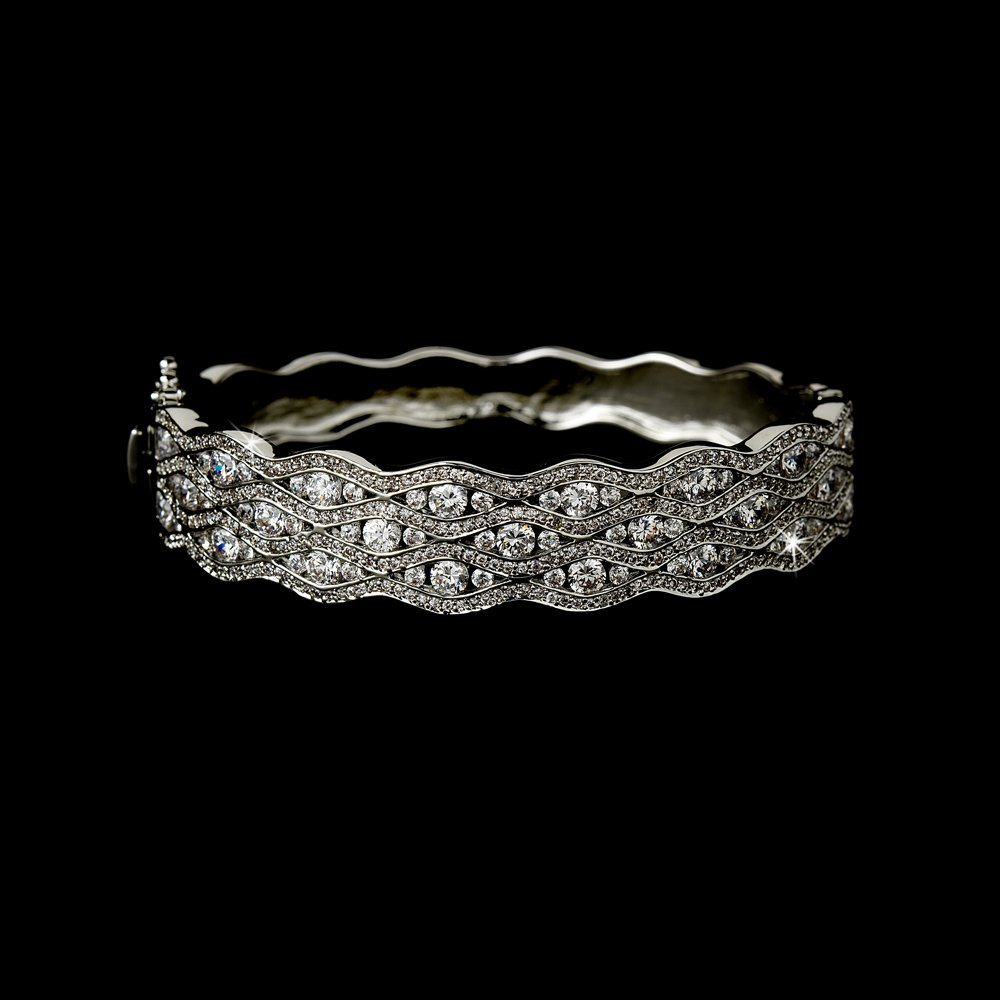Elegant Sterling Silver Cubic Zirconia Bangle Bracelet
