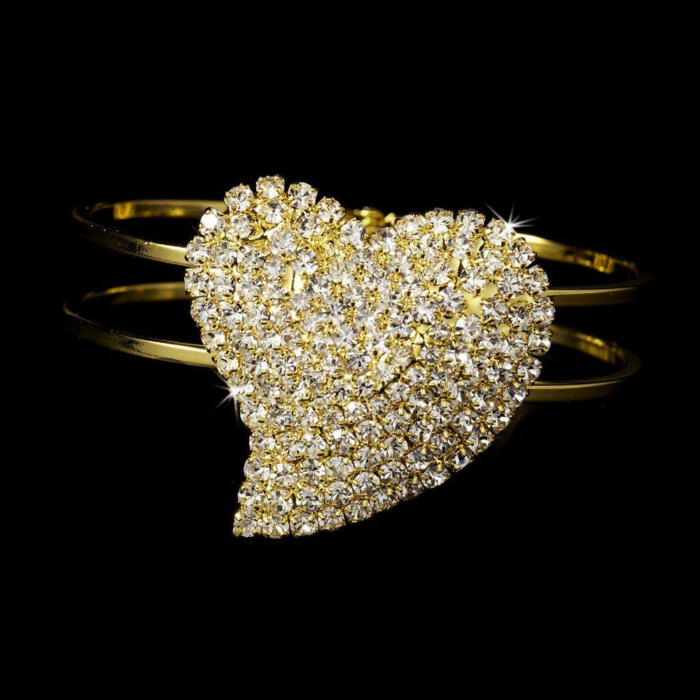 Gold Rhinestone Crystal Heart Cuff Bridal Bracelet