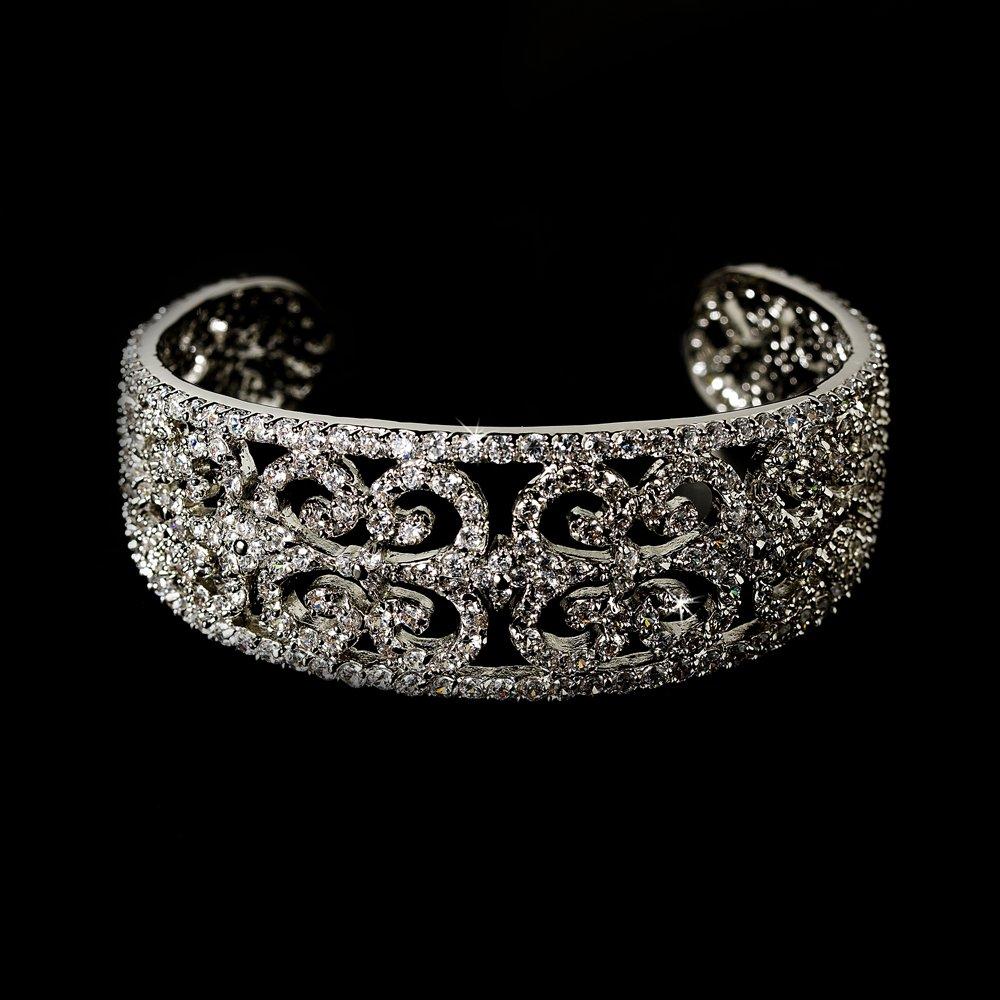 Elegant Silver Rhinestone Crystal Cuff Bracelet