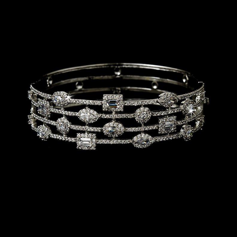 Silver Clear Rhinestone Crystal Cuff Bracelet