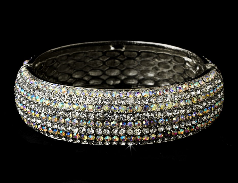 Silver AB Clear Swarovski Crystal Bangle Bracelet