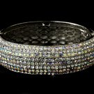 Silver AB Clear Swarovski Crystal Bangle Bracelet