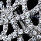 Silver Ribbon Rhinestone Crystal Cuff Bracelet