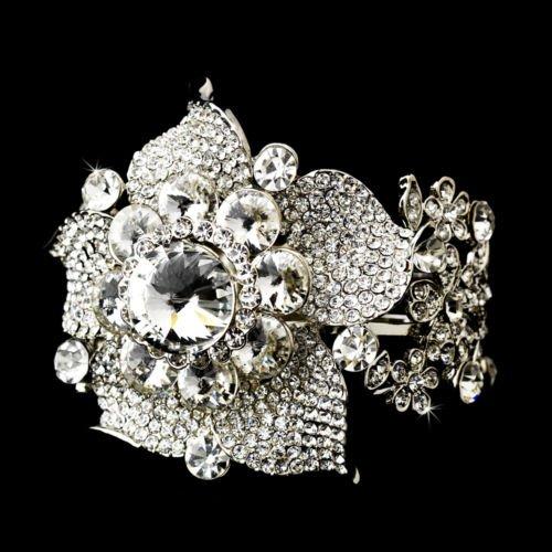 Silver Rhinestone Crystal Floral Cuff Bracelet