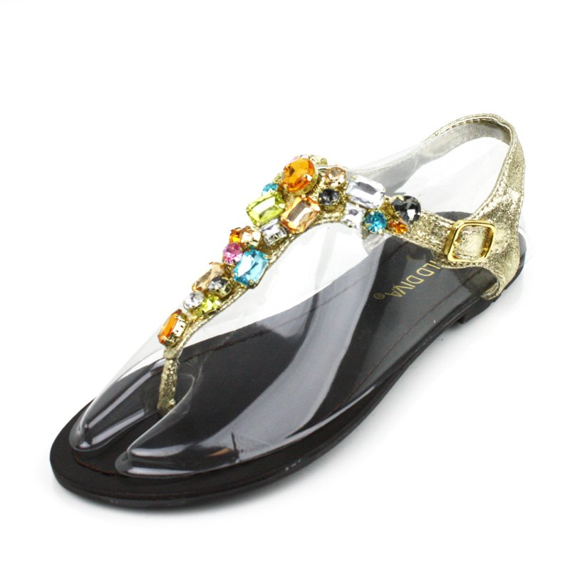 Gold Jeweled Flat Sandals Womens Shoes