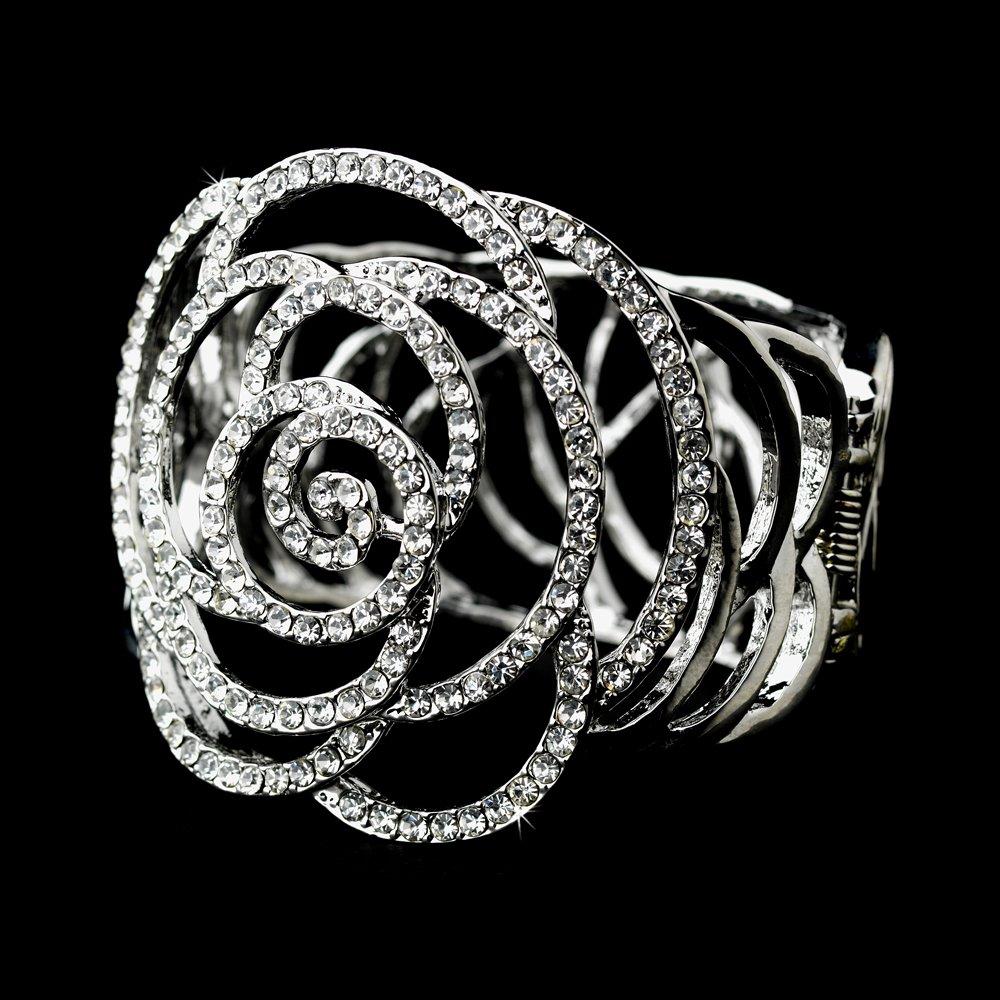Silver Rhinestone Crystal Dahlia Cuff Bracelet