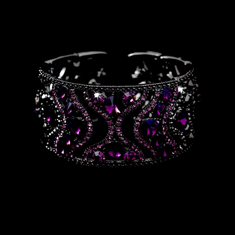 Silver Amethyst Rhinestone Crystal Cuff Bracelet