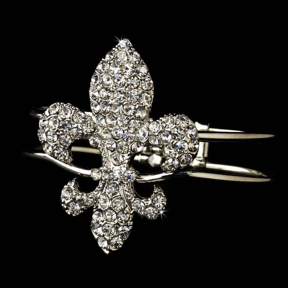 Silver Rhinestone Crystal Fleur De Lis Cuff Bracelet