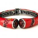Silver Red Enamel Rhinestone Crystal Cuff Bracelet