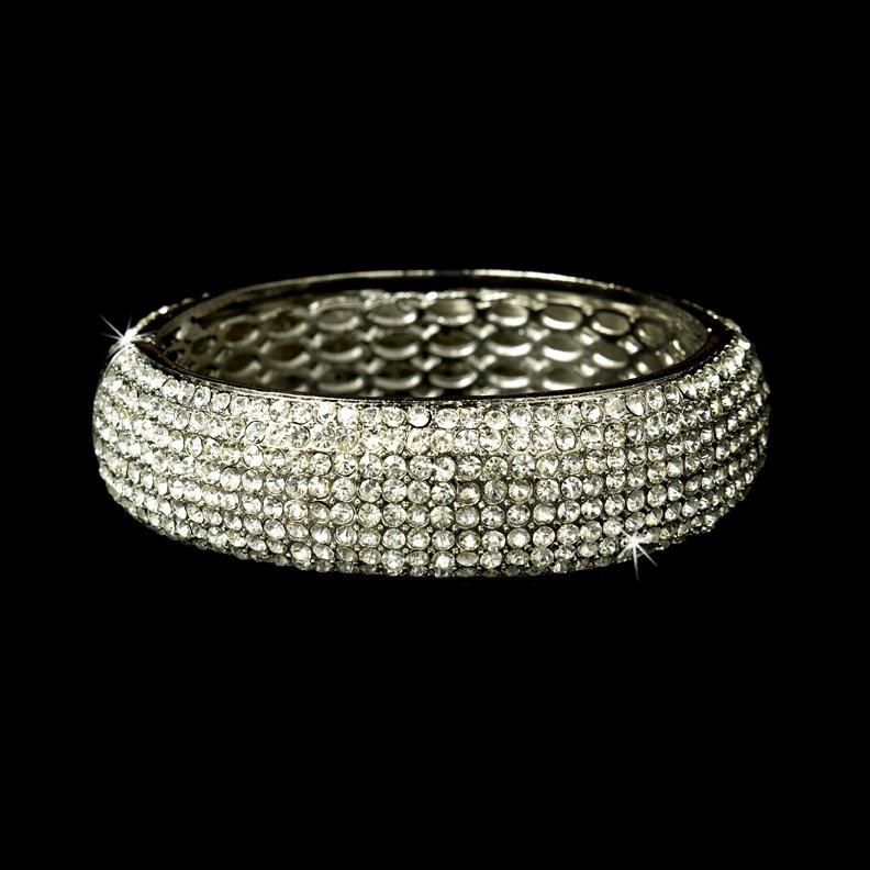 Silver Clear Swarovski Crystal Bangle Bracelet