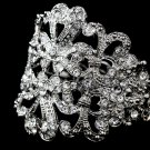 Silver Antique Heart Rhinestone Crystal Cuff Bracelet