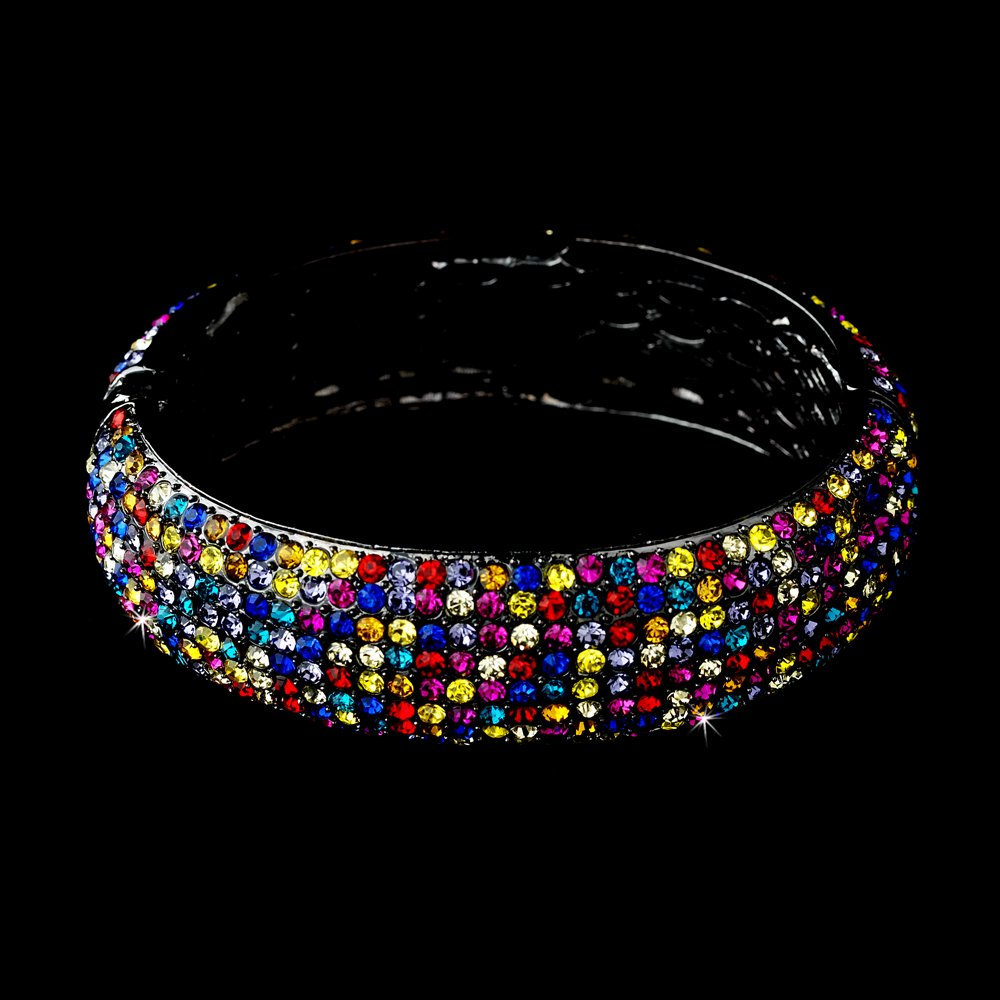Silver Multi Color Rhinestone Crystal Bangle Bracelet