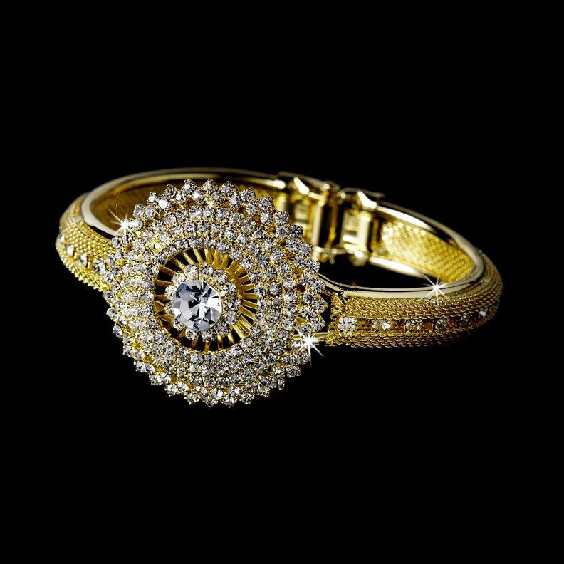 Gold Rhinestone Crystal Mesh Cufff Bracelet